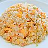 彩り鮮やか炒飯。ツナ入りコールスロー。鶏むね肉の野菜スープ。