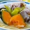 山梨県の郷土料理(ほうとう鍋)。サラダ。ヨーグルトムース。