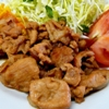 豚の生姜焼き。かぼちゃのサラダ。みそ汁。ご飯。