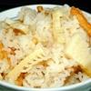 筍ご飯。厚揚げと切干大根の炒め煮。みそ汁。
