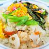 五目ちらし寿司。菜の花のお浸し。すまし汁。