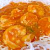 海老チリ。もやしの中華サラダ。中華風コーンスープ。ご飯。