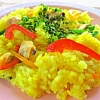 炊飯器パエリア。コンソメスープ。バナナケーキ。