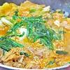 キムチチゲ。大根のナムル。杏仁豆腐。