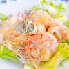 エビマヨ。もやしの中華サラダ。中華風コーンスープ。ご飯。