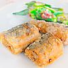秋刀魚の唐揚げ。オクラの梅おかか和え。みそ汁。ご飯。